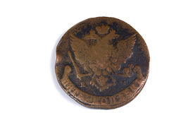 Old Russian copper coin. Royalty Free Stock Photo