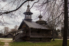 Old Russian Cottage. This picture was taken in Vitoslavlicy, Novgorodskaya oblast'. It shows where our forefathers used to live Royalty Free Stock Photo