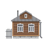 Old Russian country house. Vector flat. Royalty Free Stock Photos