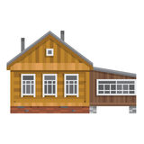 Old Russian country house. Vector flat. Royalty Free Stock Photo