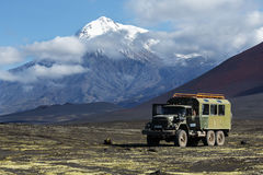 Old Russian extreme expedition truck ZIL-131 six-wheel drive o. TOLBACHIK VOLCANO, KAMCHATKA, RUSSIA - AUG 27, 2014: Russian off-road extreme expedition truck Stock Photo