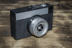 An old Russian film camera stock photo