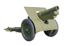 Old Russian gun cannon isolated on white. Stock Photography