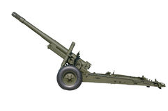 Old Russian gun cannon isolated on white. Stock Images