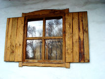 Old russian hand-made window. Old russian hand-made village-style window royalty free stock image