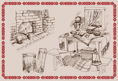Old Russian kitchen. Vector sketch on the theme: Old Russian kitchen Royalty Free Stock Images