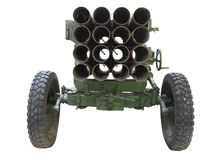 Old russian mobile rocket launcher isolated over white Royalty Free Stock Images