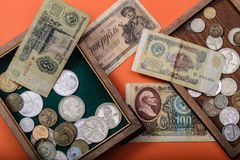 Old Russian money and coins stock photo