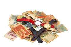 Old Russian money and hours Royalty Free Stock Photo