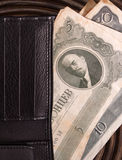OLD RUSSIAN MONEY IN A MODERN WALLET Royalty Free Stock Photos
