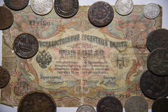 Old Russian money, paper and metal. royalty free stock images