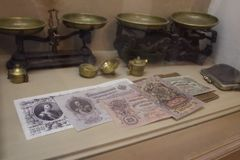 The old Russian money of the 19th century in the museum `Old Vladimir` in Vladimir city, Russia. The museum `Old Vladimir` is located inside the former water royalty free stock images