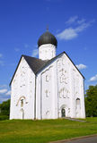 Old Russian Orthodox church of the Transfiguration on Ilyina in Veliky Novgorod on a summer day Royalty Free Stock Photo