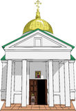 Old Russian orthodox temple. Vector. Stock Photography