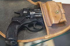 Old Russian revolver in a holster - soviet weapon Stock Photography