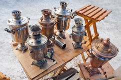 Old Russian samovars. Stock Image