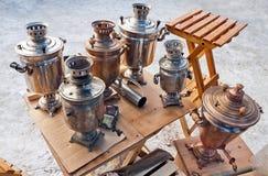 Old Russian samovars. Stock Image