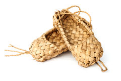 Old Russian sandals made of bark Royalty Free Stock Photos