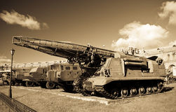 Old russian SCUD missile launcer. At the russian military museum at St. Petersburg Stock Photos