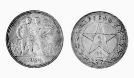 Old Russian silver coins Royalty Free Stock Photography