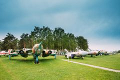 Old Russian Soviet Military Planes Aircraft Fighters And Bombers. Stands In Row At Aerodrome Royalty Free Stock Photos