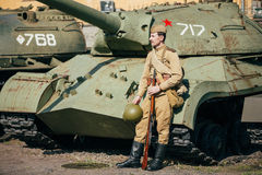 The old russian Soviet tanks Stock Photos