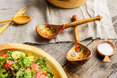 Old Russian spoons. A pair of old traditional Russian wooden painted spoons Stock Photography
