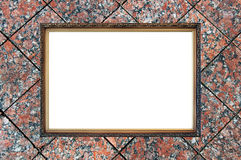Old russian style frame on granite background. Old russian style vintage elegant frame on granite background concept dissonance between elegant old thing and Stock Photos