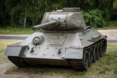 Old russian tank in an outdoor museum. Armed military forces in stock photos