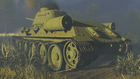 Old Russian Tank T 34 Rear view stock footage