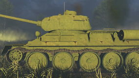 Old Russian Tank T 34 Side view stock video footage
