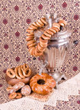 Old Russian tea kettle with bagels Stock Photo