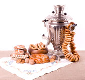 Old Russian tea kettle with bagels Royalty Free Stock Photography
