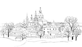 Old russian town cityscape. Sketch drawing of view of Suzdal town. The Golden Ring of Russia. Stock Photography