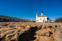 Old russian town landscape with church. View of Suzdal cityscape. Stock Photography