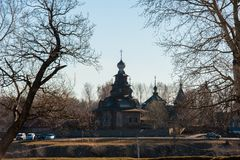 Old russian town landscape with church. View of Suzdal cityscape. Stock Images
