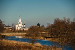 Old russian town landscape with church. View of Suzdal cityscape. Royalty Free Stock Photos