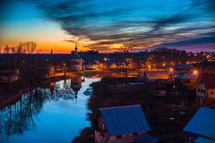Old russian town landscape with church. View of Suzdal cityscape. Stock Photos