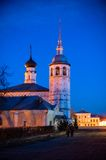 Old russian town landscape with church. View of Suzdal cityscape. Royalty Free Stock Images