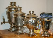 Russian samovars on the table Royalty Free Stock Photography