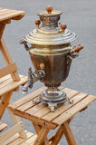 Old Russian traditional object for tea ceremony - copper samovar Royalty Free Stock Image