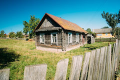 Old Russian Traditional Wooden House In Village Of Belarus Or Russia Stock Image