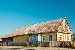 Old Russian Traditional Wooden House In Village Of Belarus Or Russia Stock Photography