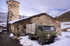 Old russian truck in svanetia royalty free stock photos