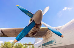 Old russian turboprop aircraft at the abandoned aerodrome Royalty Free Stock Photos