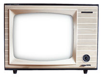 Old Russian TV set. Old Russian black and white TV set isolated on white with clipping paths Royalty Free Stock Photography