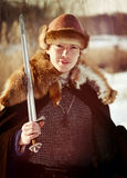 Old Russian warrior historical reconstructor Stock Photos