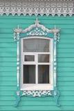 Old Russian window in Mariinsk Stock Photos
