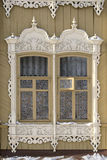 Old Russian windows in Tomsk Stock Photo