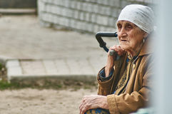 Old Russian woman selling potatoes (Kaluga region). Stock Photos